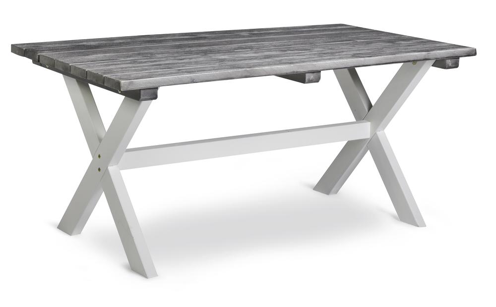 SHABBY CHIC bord 86x160cm borstad grå/vita ben