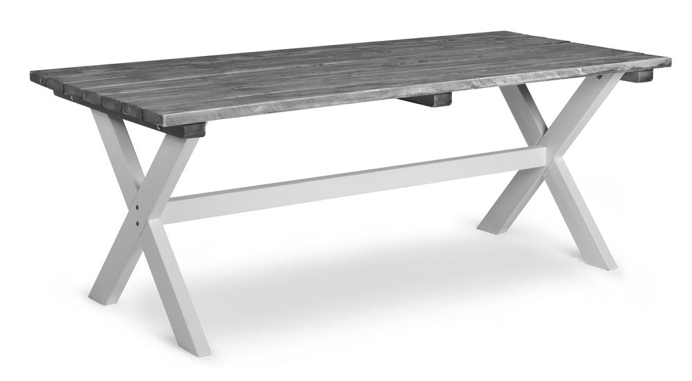 SHABBY CHIC bord 86x195cm borstad grå/vita ben