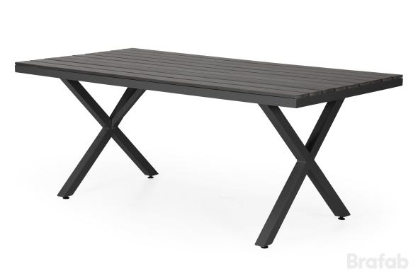 Leone Grupp bord 100x200cm & 6 Stapelstol svart