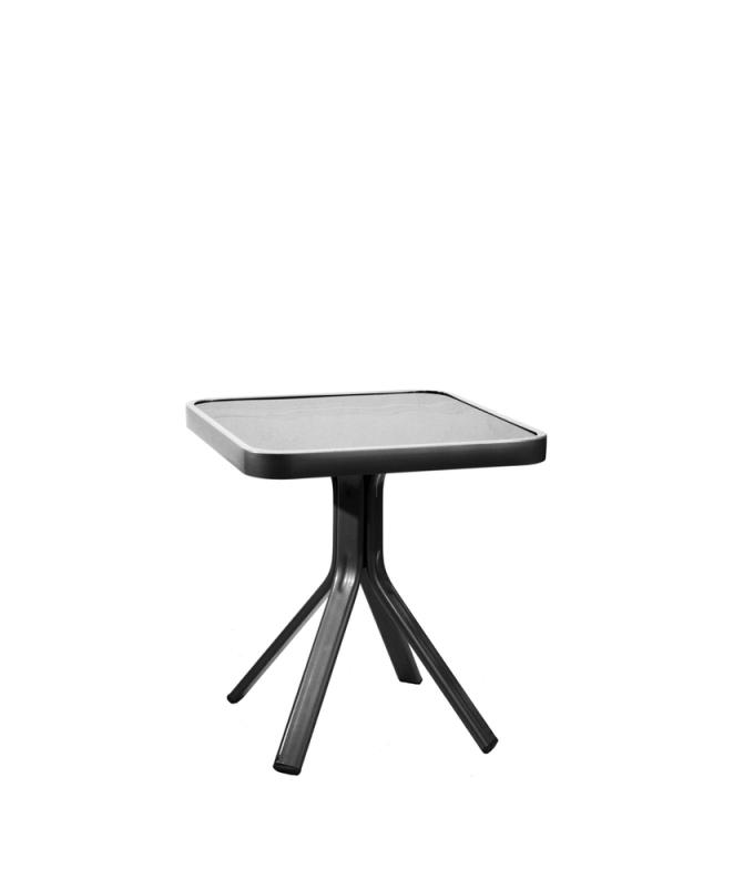 SIDOBORD 45x45cm svart alu/glas