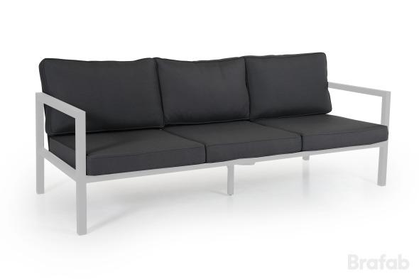 BELFORT 3-sits Soffa m. grå dyna Vit