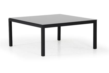 BELFORT Soffbord 100x100cm Svart/Grå glasskiva