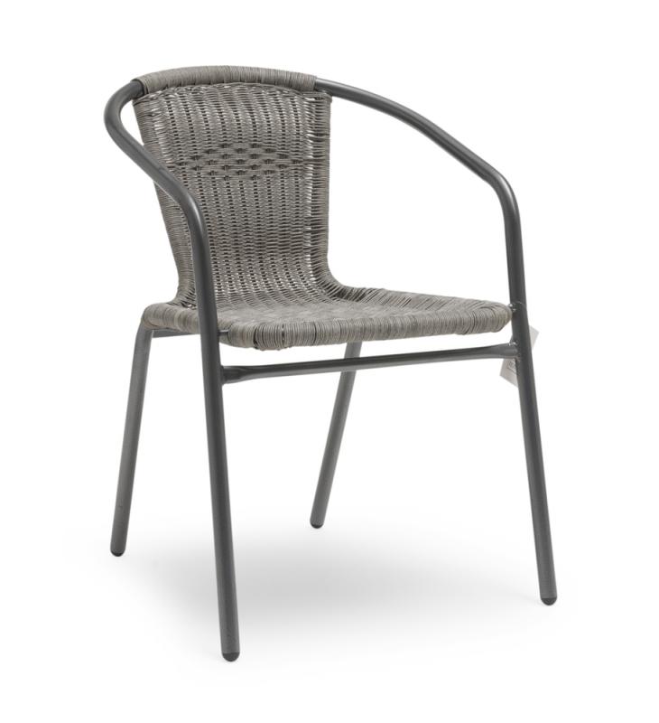 ARVIKA Stapelstol grå stål/ljusgrå konstrotting