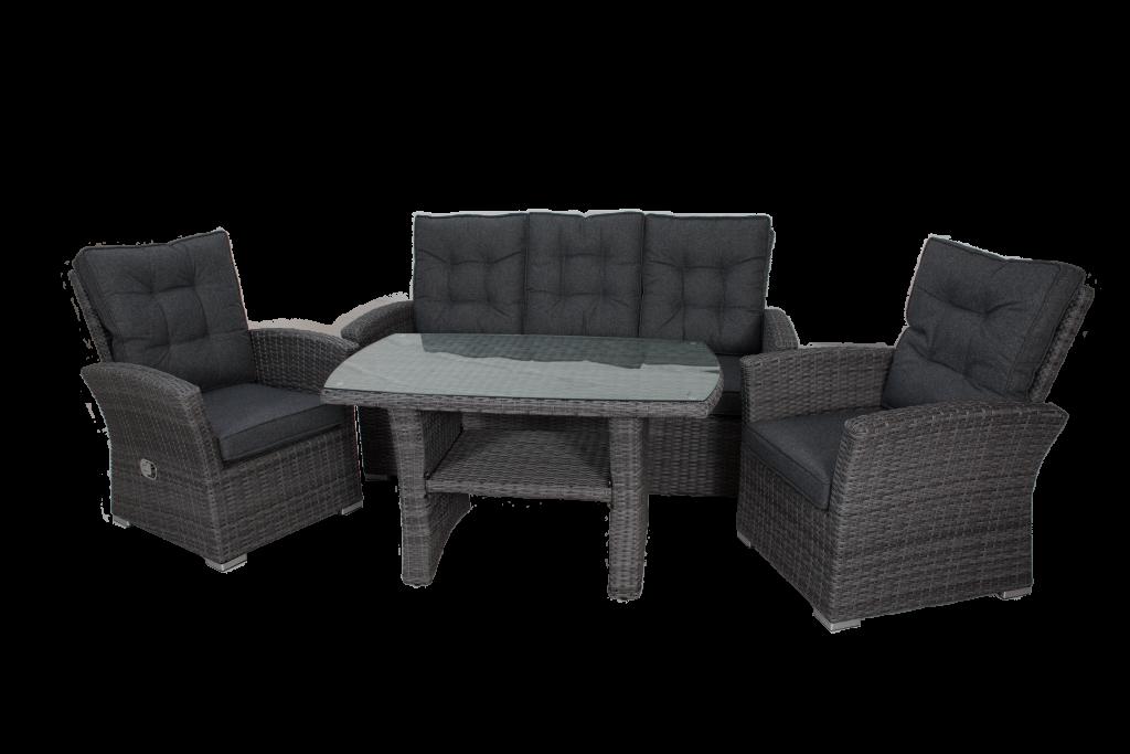 MONACO soffgrupp med reclinerfåt. Antracite