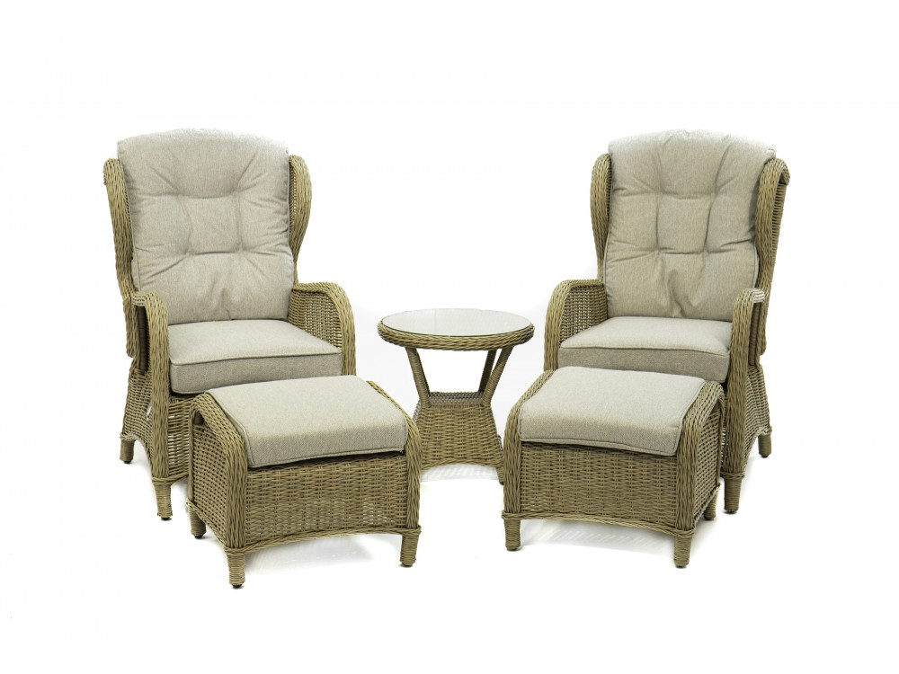 CAMBRIDGE Set 2 recliner fåt. 2 fotpall 1 bord Seagrass