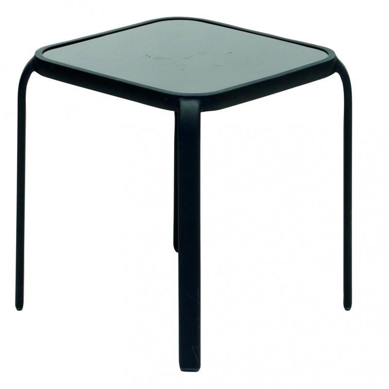 Korsika sidobord svart/svart glas 40x40x40 cm
