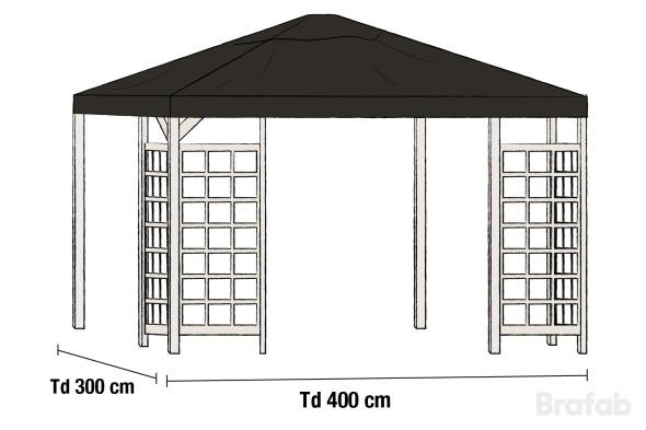 HOV Paviljong 3x4m inkl tak Vit