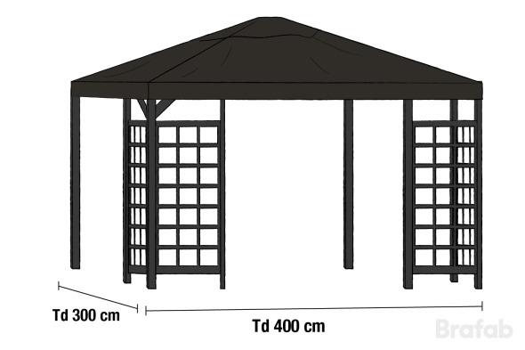 HOV Paviljong 3x4m inkl tak Svart
