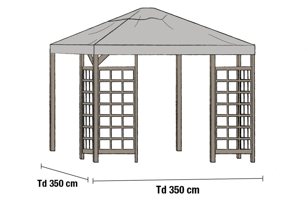 HOV Tak 3.5x3.5m Grå