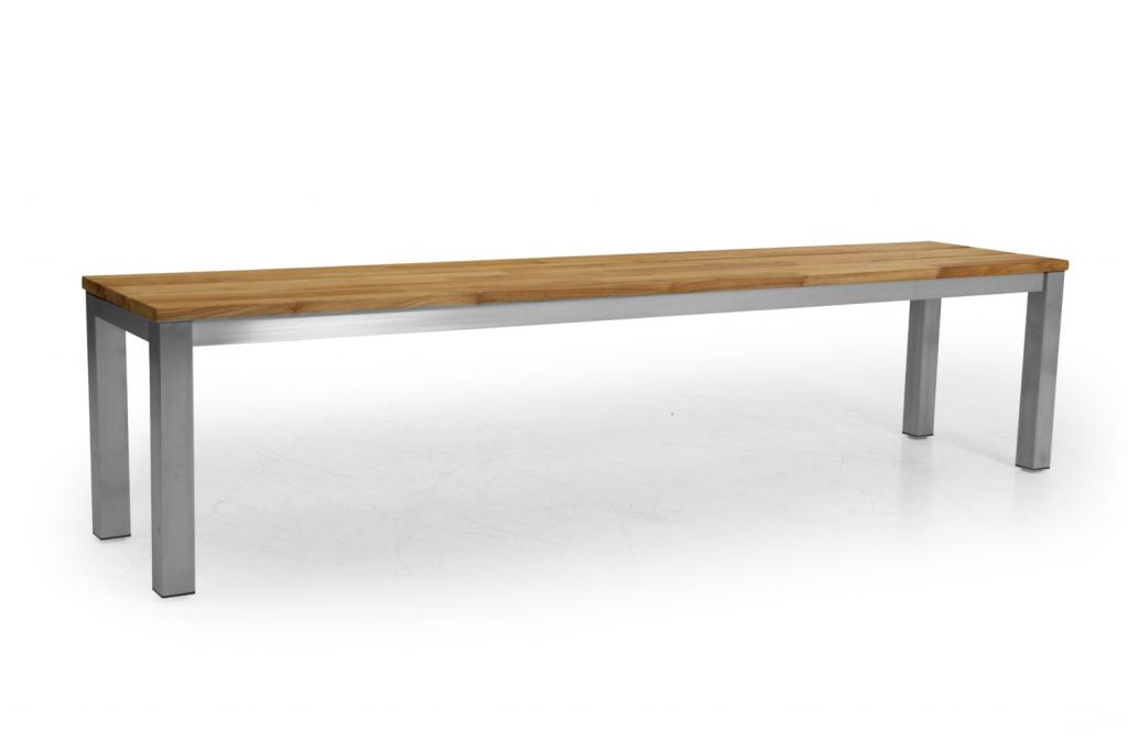 HINTON Bänk 185cm Teak/rostfritt stål