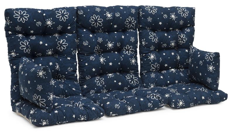 Hammockset hög flockstoppad Blå m.mönster