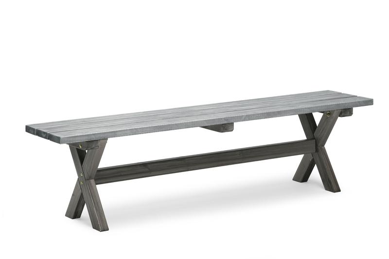 Shabby Chic bänk grå 40x180cm