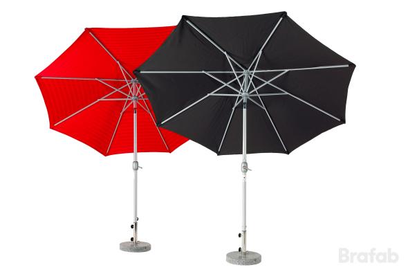 Andria alu-parasoll 3m Silver/röd